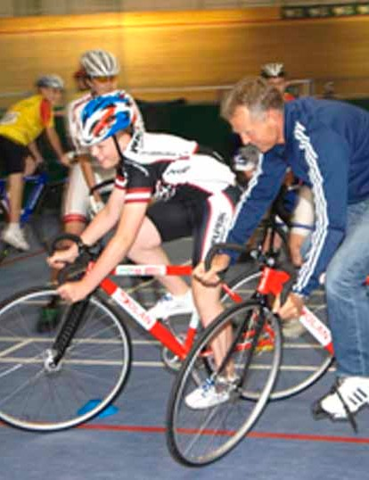 Shane Sutton offers some assistance to a young hopeful.