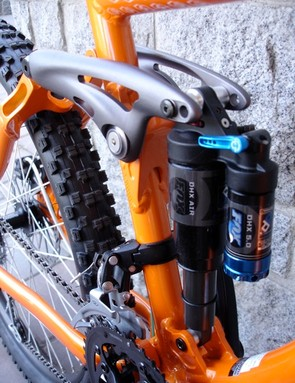 The heart of a good four bar design: twin shock mount changes travel settings