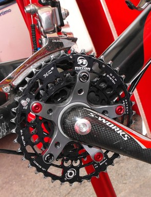 His usual round chainring have apparently been traded(at least temporarily) for a pair of elliptical Rotor Q-Rings.