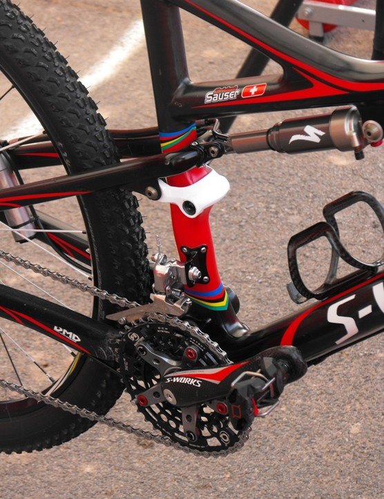 Sauser has apparently also been testing	Look's new Quartz pedals as a possible replacement for his usual Crankbrother Eggbeater 4Ti.