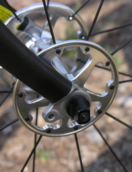 Radial front wheel spoking