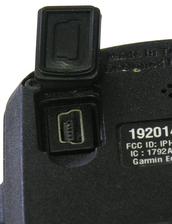 A rubber cover in the back hides a mini-B USB socket for data transfer and charging