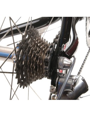 Ten sprockets on Shimano's steel-and-titanium Dura-Ace cluster