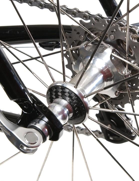 Radial spokes on the left side of the Zipp rear wheel