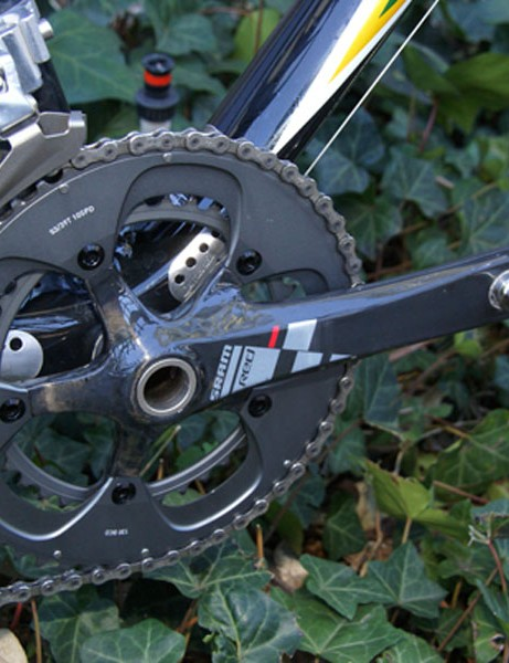 The new Red crankset is lighter than Force, and includes a ceramic bearing bottom bracket
