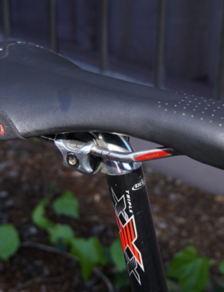 Bowman prefers the extra padding in the nose of the Selle Italia SLR T1 saddle.
