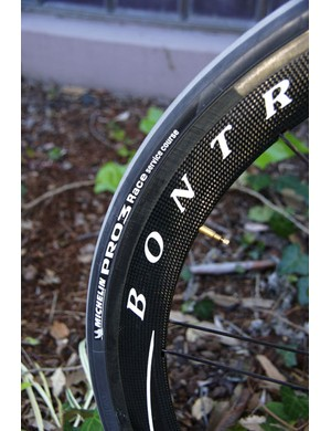 Michelin doesn't offer tubulars but equips the team with its new top-end Pro3 Race clinchers.