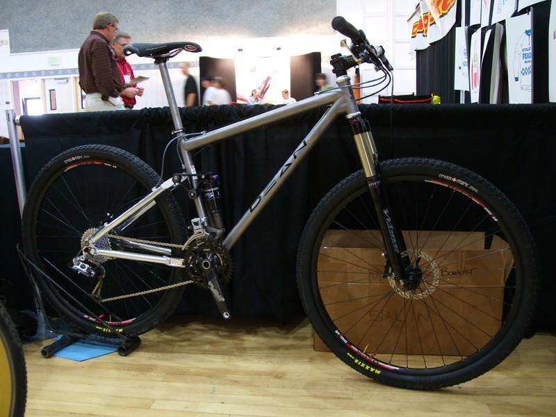 This Dean full-suspension bike uses a titanium front triangle…