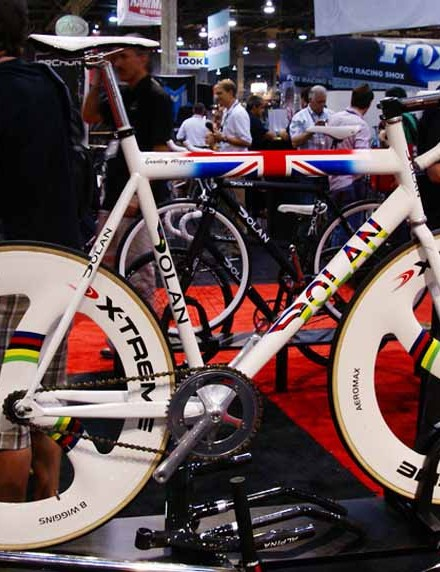 This bike definitely stood out amongst the sea of black and white in the Dolan/DPM Sports booth at Interbike.