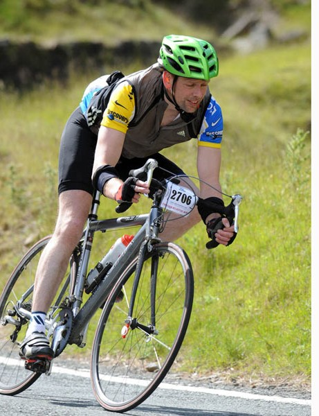 Tim Wallace covers the brakes on his second descent of the Bwlch