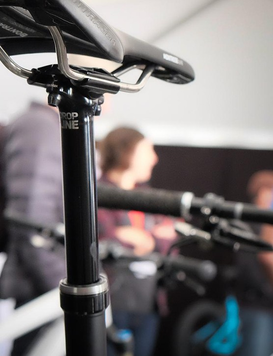The Bontrager Drop Line uses an air spring with a hydraulic brake to maintain the seatpost's position