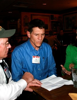 Iron Horse Classic founder Ed Zink (L) talks with Hill Abell and Mary Monroe in Washington.