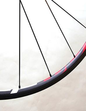 The carbon fibre tubular rims are just 20mm deep.