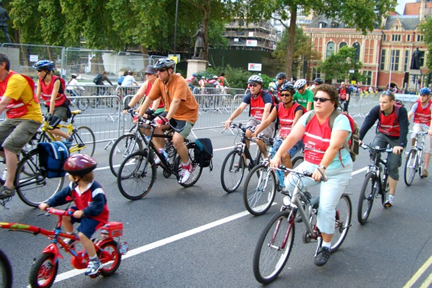Cyclists at the London Freewheel, carfree and definitely under 20mph