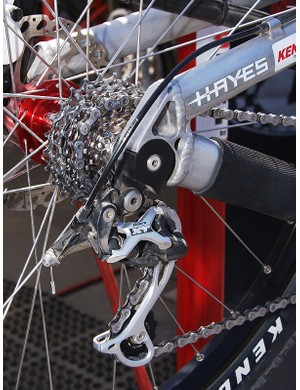 One of the stoutest-looking thru-axle dropout and derailleur hanger combinations we've seen