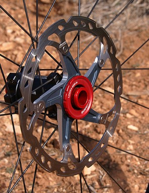 Shimano keeps the Center Lock rotor attachment but the 15mm hub shell allows standard rotor splines