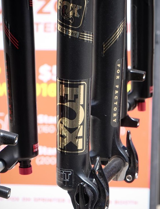 Fox has widened its decal offerings to include silver as well as gold to match up with the blingy SRAM Eagle XX1 drivetrain