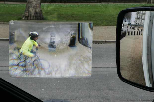 A Fresnel lens designed to help lorry drivers see cyclists