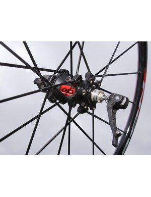 Hubs feature 20mm aluminium axles and Fulcrum's easy-to-adjust bearing collar.