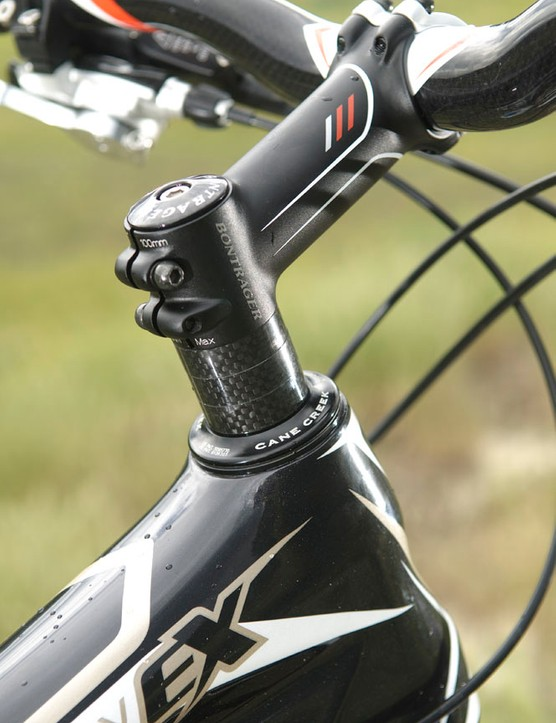 Plenty of spacers - in carbon of course - provide position adjustment
