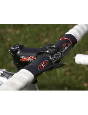 The ultralight Easton EC90 Equipe SL carbon handlebar is clamped with an equally superlight EA90 forged aluminum stem