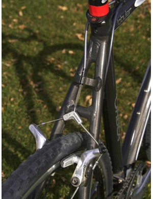 The full-length seatstays are fitted with a stout brake housing stop