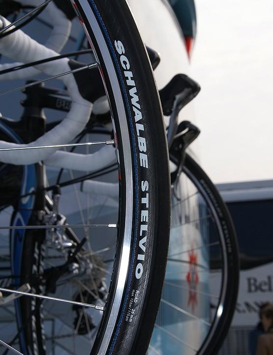 Gerolsteiner's Thomas Fothen went with wider 25mm tires.