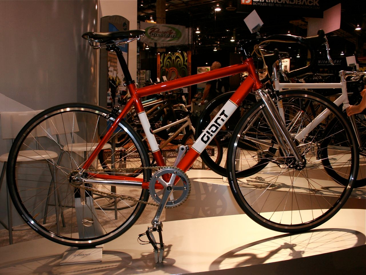 Giant's Bowery 1972 road fixie in ruby red with retro decals.