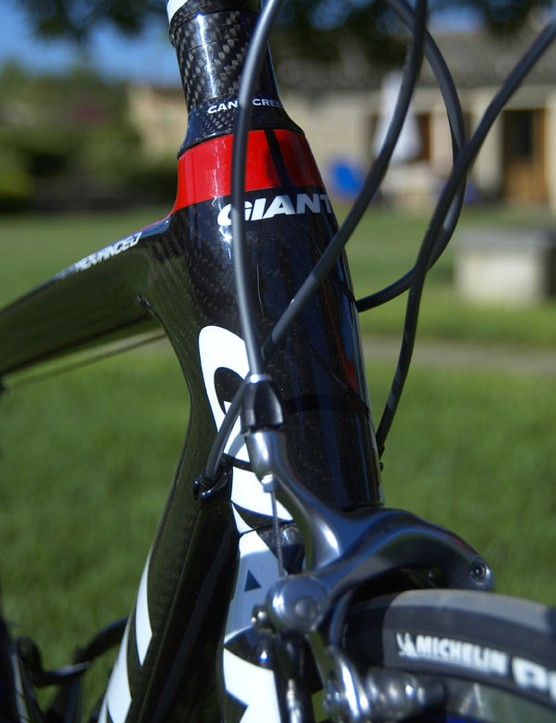 The TCR Advanced's head tube is also noticeably oversized and houses a 1 1/8