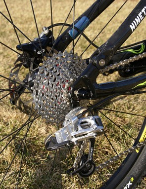 More SRAM can be found out back in the X.0 BlackBox rear derailleur and PG-990 cassette