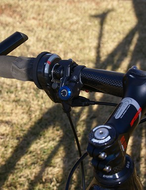 Curiously, the rear shock lockout is operated by an old Rock Shox Poploc remote