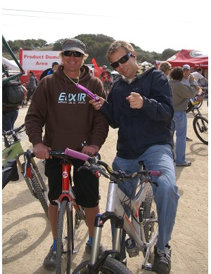 SRAM's Greg Herbold and Oakley's Steve Blick show off some retro purple goods…or is it coming back?