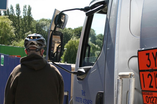 Undertaking a lorry can put cyclists in danger