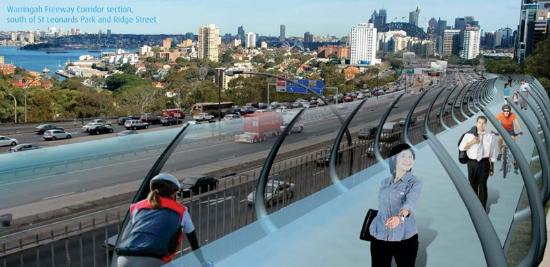 An artists's impression of the Harbourlink elevated cycleway
