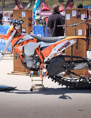 Hayes wasn't expecting snow at Sea Otter, it brought this KTM with a Timbersled rear end to remind folks that the company produces brakes for a wide range of industries outside of the cycling sphere