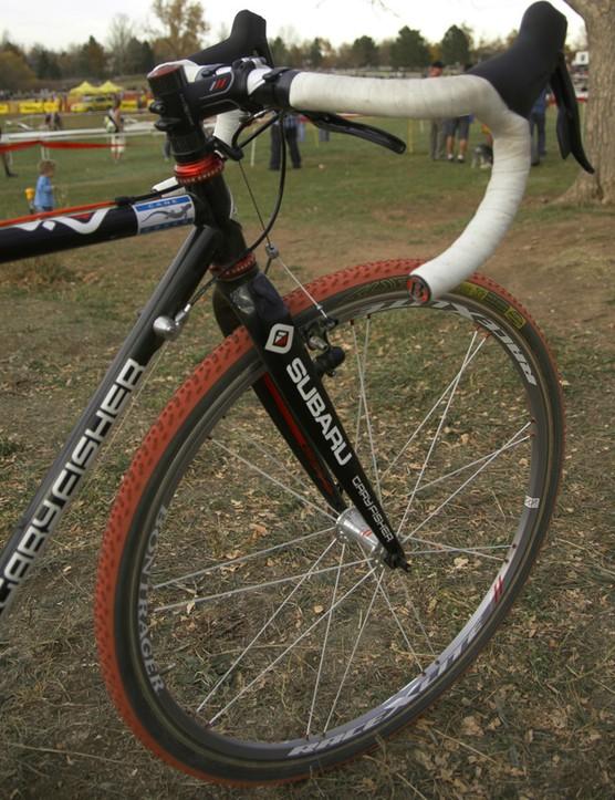 Irmiger uses Bontrager Race X Lite tubular wheels.