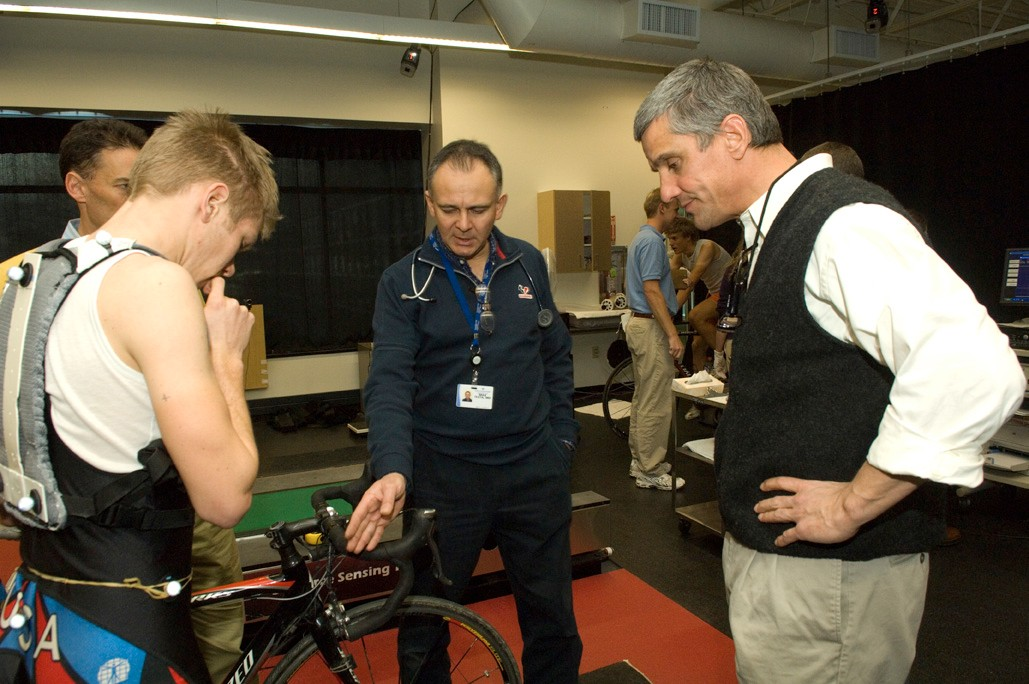 Max Testa (C) and Eric Heiden (R) work with a U23 development rider in Utah.