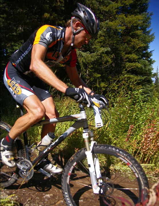 …and apparently had traded his initial full-suspension Gary Fisher for a hardtail.