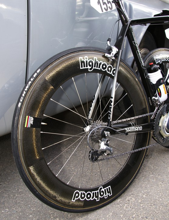 It's common practice to pair a deeper rear wheel with a shallower front for better handling.