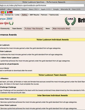 Before: Highclere performance awards web page