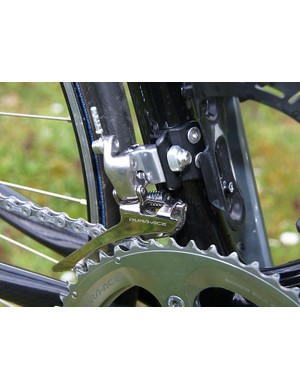 Standard Dura-Ace fare here, and there's no chain watcher to stand guard against dropped chains.