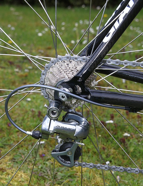 The stock Shimano Dura-Ace rear derailleur is well proven on the cobblestones of Paris-Roubaix.