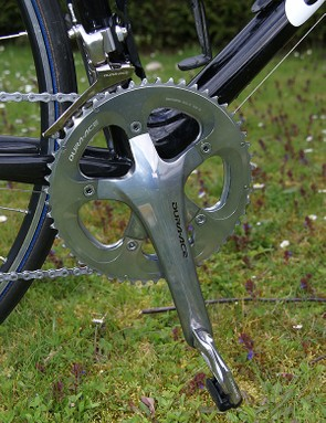 Hincapie's bike is fitted with standard Dura-Ace crankarms.