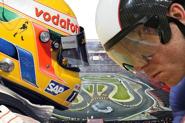 Lewis Hamilton will take on Chris Hoy at Wembley Stadium