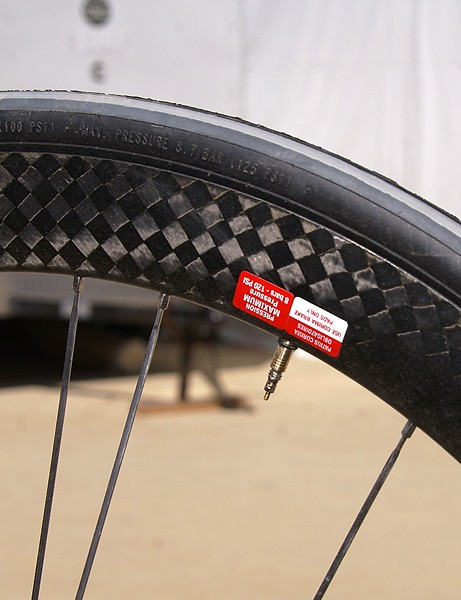 The all-carbon rim is 44mm deep and supposedly requires no rim strip.