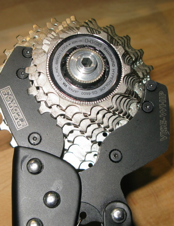 The Vise Whip will clamp sprockets from 11 to 23 teeth