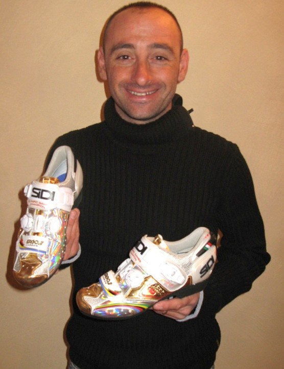 Paolo Bettini with his new Sidi Ergo 2 Carbons
