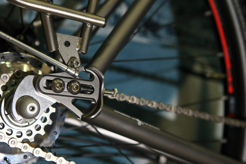 Sliding dropouts are purpose-built for the Rohloff rear hub and are also fitted with rack and mudguard mounts