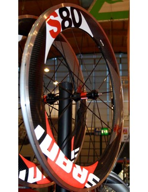The S80 wheels have 80mm-deep rim sections	and are available with either black or silver hubs and spokes.