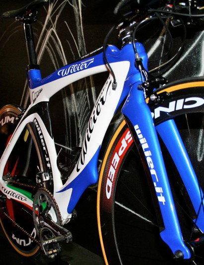 Wilier says the unusual tube shapes were dictated by wind tunnel testing.